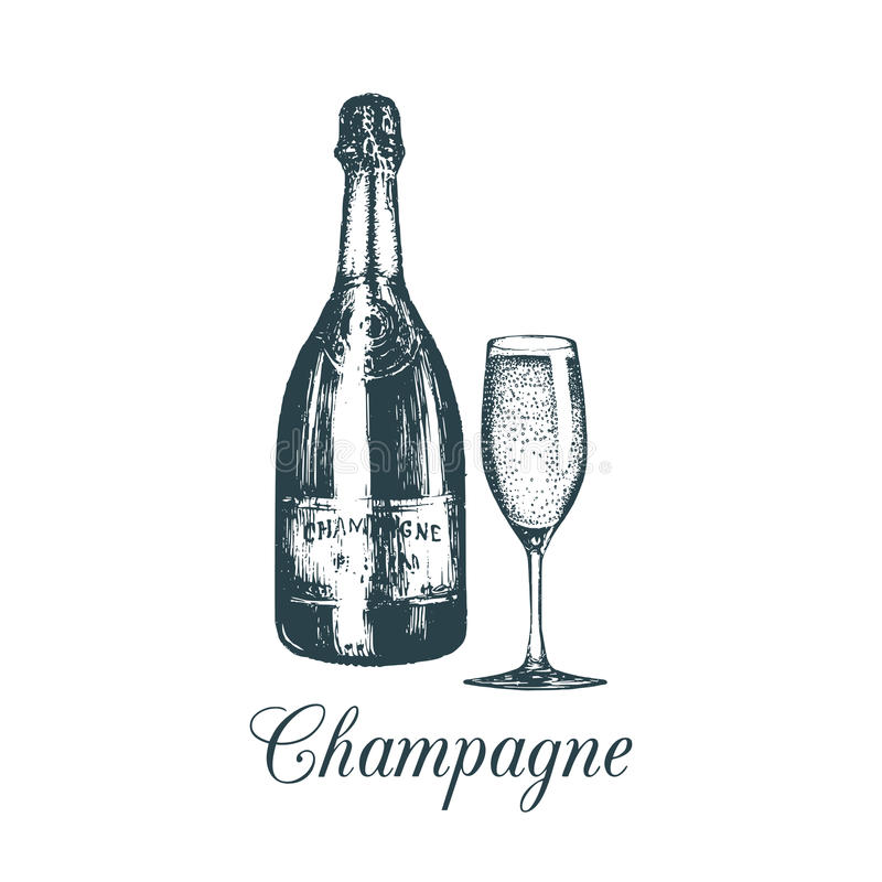 La mano ha schizzato la bottiglia ed il vetro del champagne Illustrazione d'annata di vettore dell'insieme del vino spumante per  illustrazione vettoriale