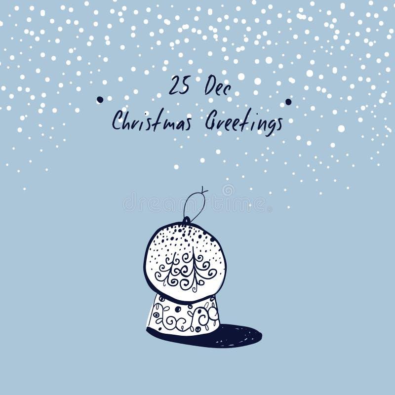 La mano ha schizzato la cartolina d'auguri di natale Giocattolo di Natale Palla della neve di Natale Saluti di natale Illustrazio royalty illustrazione gratis