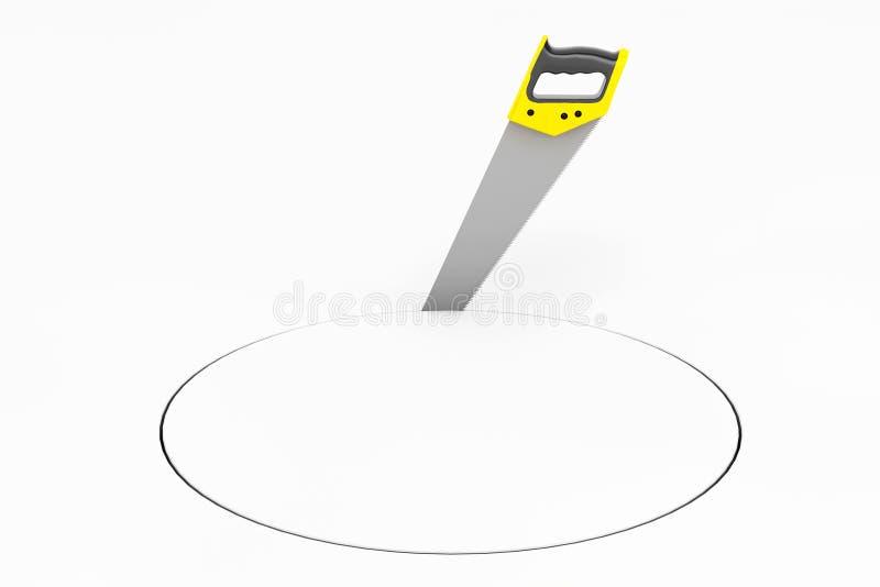 La mano ha visto lo strumento fare il cerchio illustrazione vettoriale