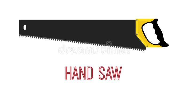 La mano ha visto, strumento del lavoro, strumento di carpenteria Stile piano del fumetto Vettore illustrazione di stock