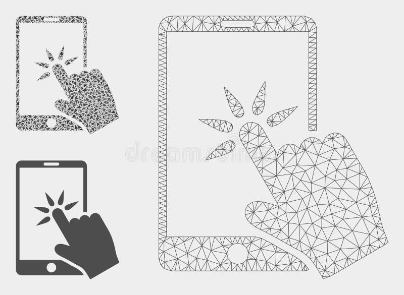 La mano hace clic el vector Mesh Carcass Model de Smartphone y el icono del mosaico del triángulo libre illustration