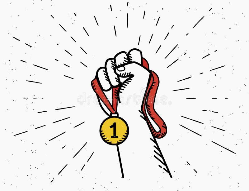 La mano humana del vintage sostiene la cinta roja con la medalla de oro libre illustration