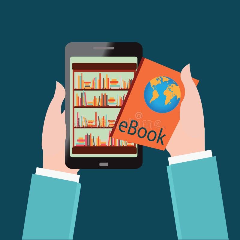 La mano humana elige los libros de e en la tienda de libros de Internet en smartp libre illustration