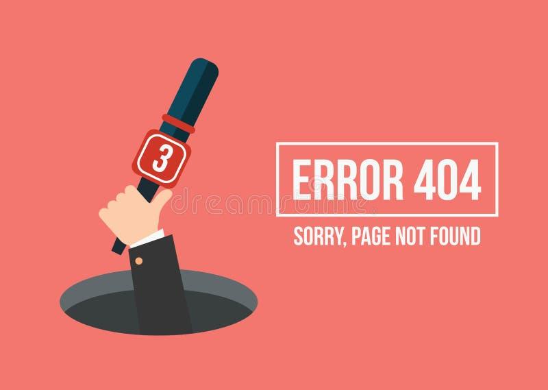 La mano humana muestra del agujero un mensaje sobre error no encontrado de la página stock de ilustración