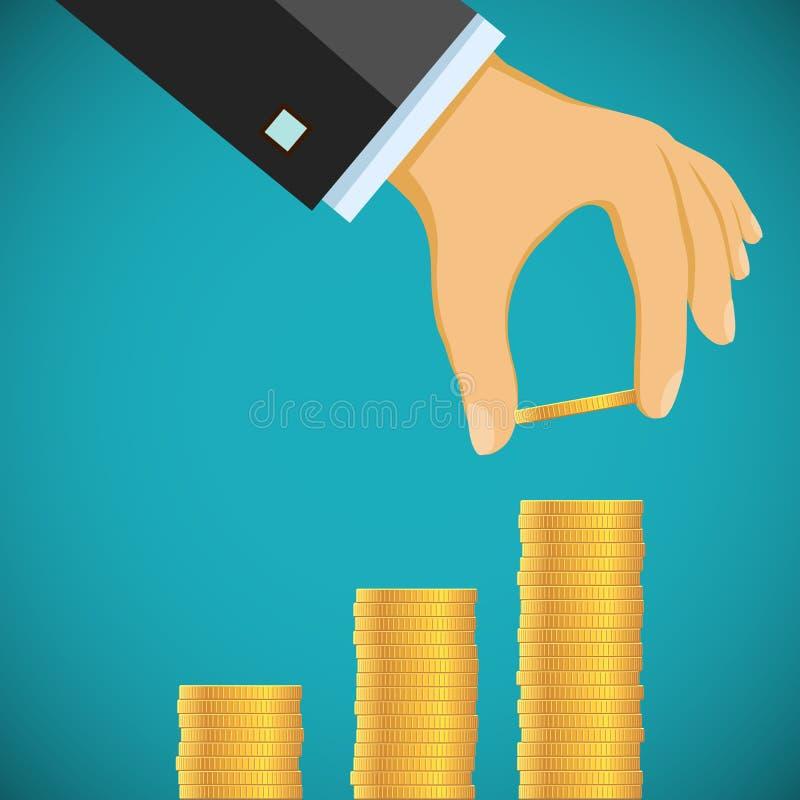 La mano humana pone monedas de oro por una pila Crecimiento del beneficio y del reve ilustración del vector