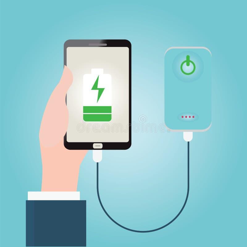 La mano humana que celebra la carga del smartphone conecta con el banco del poder ilustración del vector