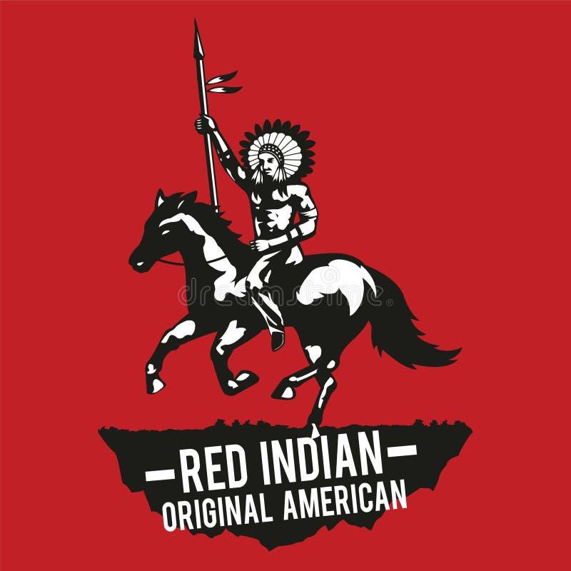 La mano india roja del aumento del nativo americano significó la victoria, backgrou rojo libre illustration