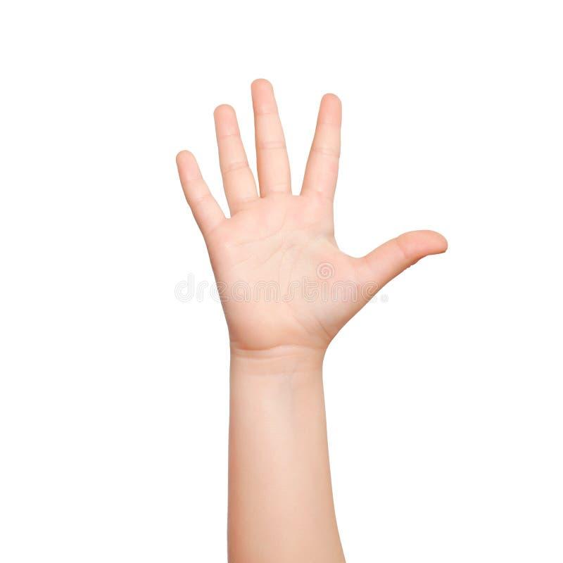 La mano isolata del bambino mostra il numero cinque immagini stock libere da diritti
