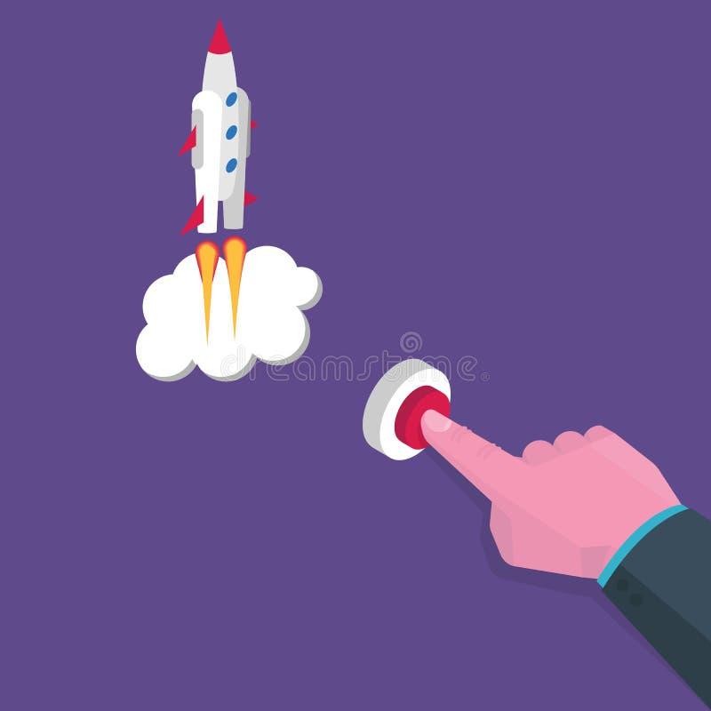 La mano isométrica presiona el botón rojo, comienza para arriba concepto Ilustración del vector ilustración del vector