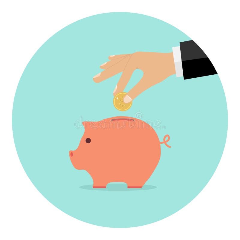 La mano lanza una moneda en la hucha stock de ilustración