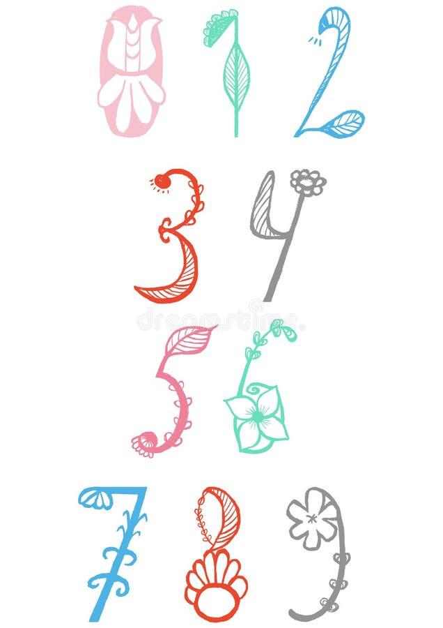 La mano linda dibujada numera en vector del stylein de la flor Elementos de la matemáticas del garabato a partir de la 0 a 9 stock de ilustración