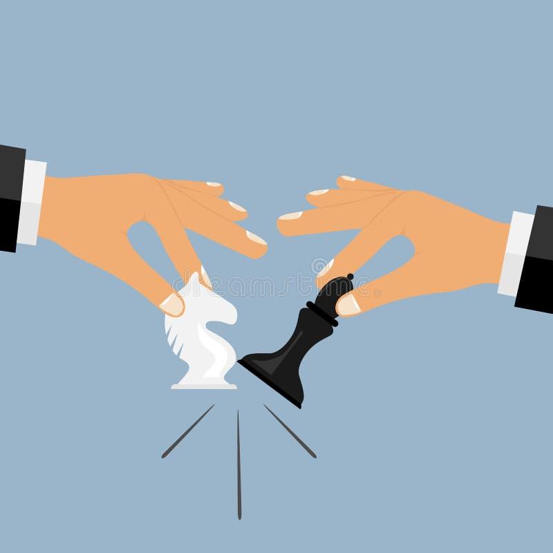 La mano lleva a cabo un pedazo de ajedrez, un choque de los pedazos de ajedrez, su movimiento ilustración del vector