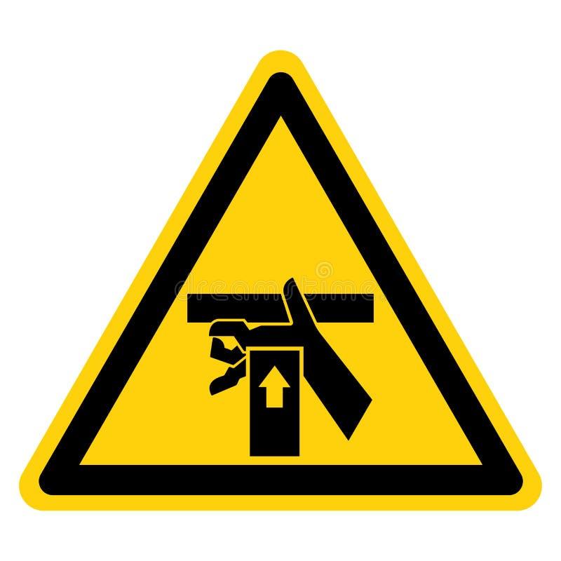 La mano machaca la fuerza de debajo aislante de la muestra del símbolo en el fondo blanco, ejemplo del vector ilustración del vector