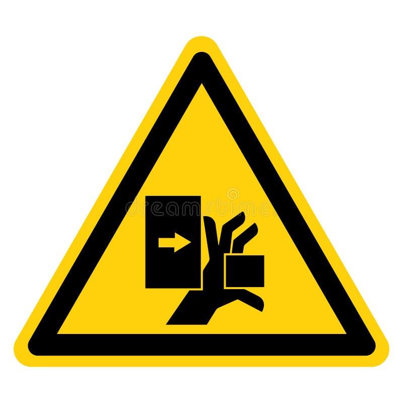 La mano machaca la fuerza de la muestra izquierda del s?mbolo, ejemplo del vector, aislante en la etiqueta blanca del fondo EPS10 stock de ilustración