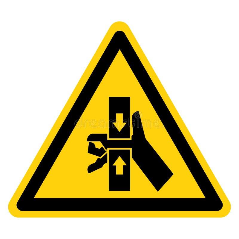 La mano machaca la fuerza del aislante superior e inferior de la muestra del s?mbolo en el fondo blanco, ejemplo del vector stock de ilustración