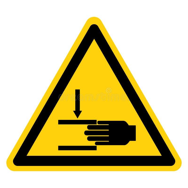 La mano machaca la fuerza desde arriba de aislante de la muestra del s?mbolo en el fondo blanco, ejemplo del vector stock de ilustración