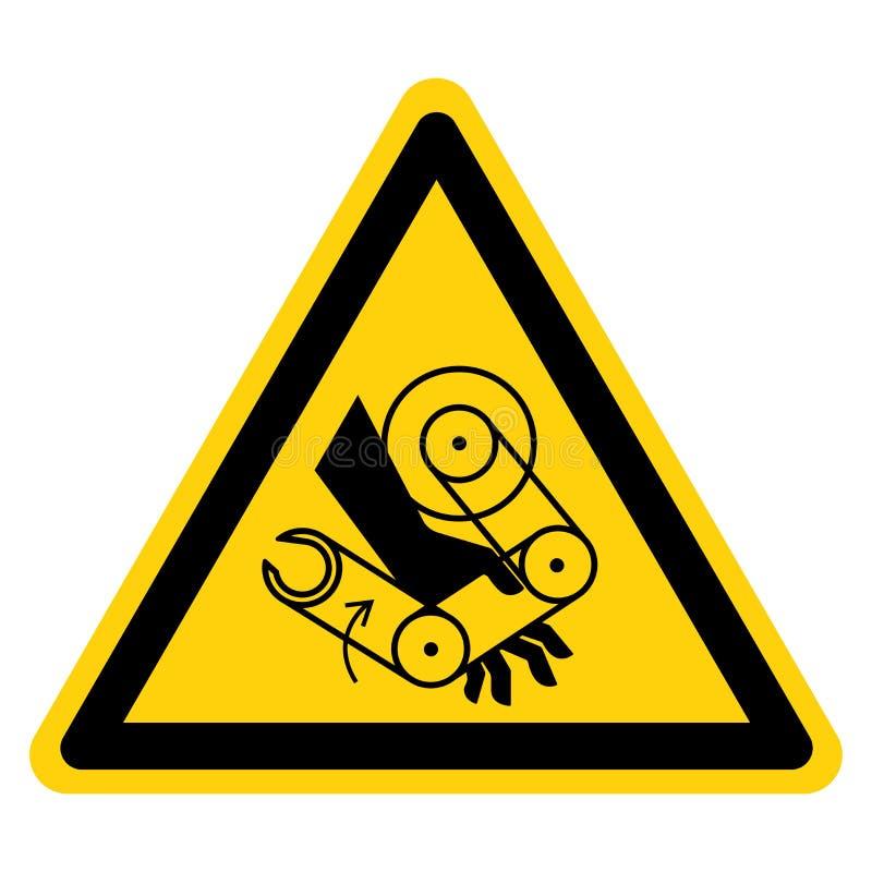 La mano machaca la muestra del símbolo del robot, ejemplo del vector, aislante en la etiqueta blanca del fondo EPS10 ilustración del vector