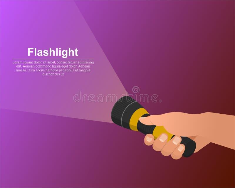 La mano mantiene encendida la linterna libre illustration