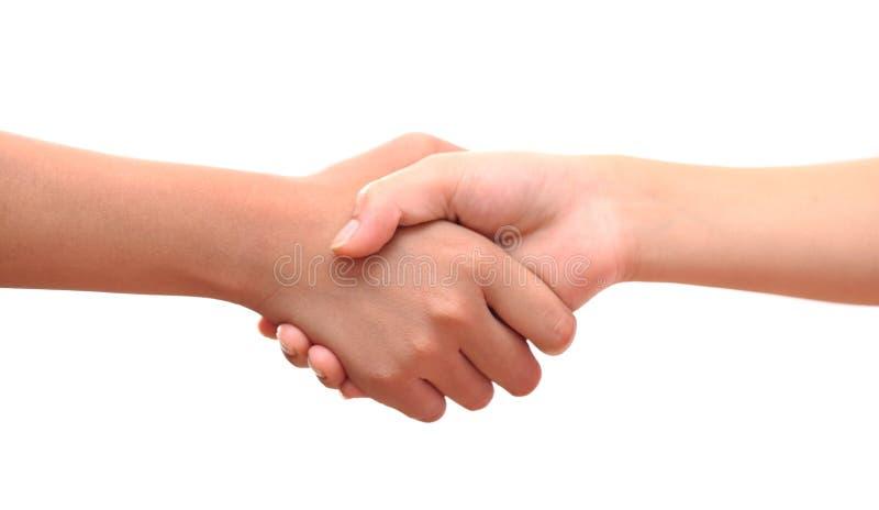 La mano maschio e femminile ha unito la stretta di mano sul backgrou bianco isolato fotografia stock