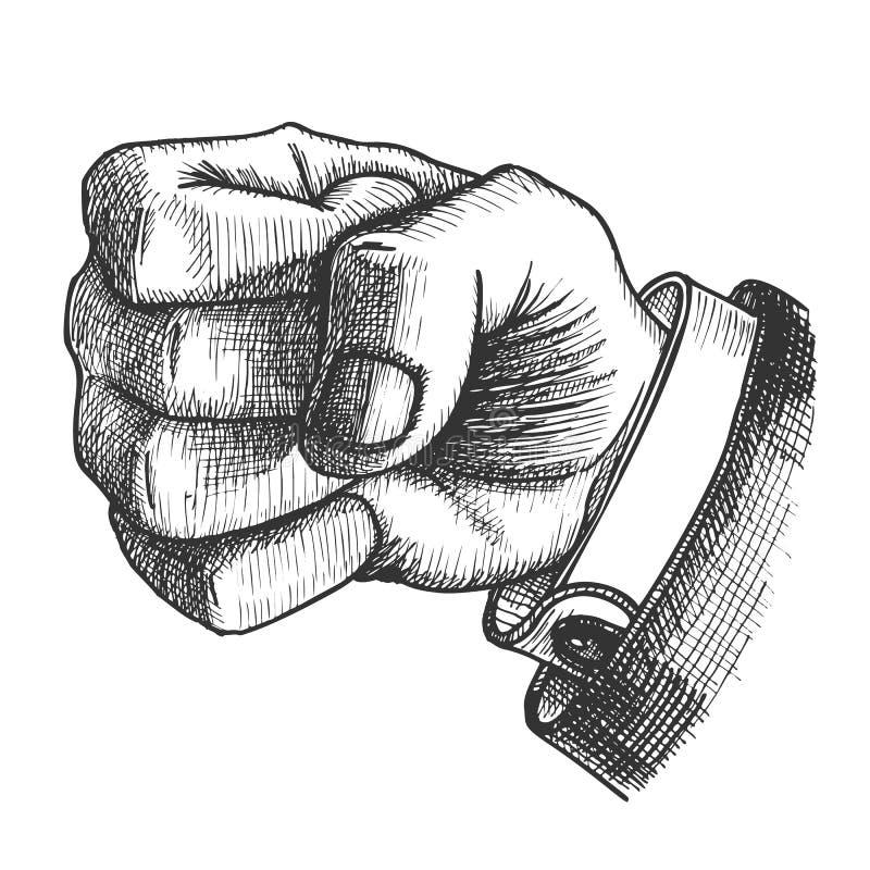 La mano maschio rende a gesto del pugno il vettore monocromatico royalty illustrazione gratis