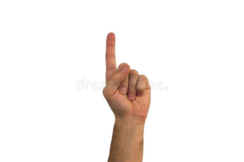 La mano maschio su un fondo bianco mostra i gesti differenti Isolat immagini stock libere da diritti