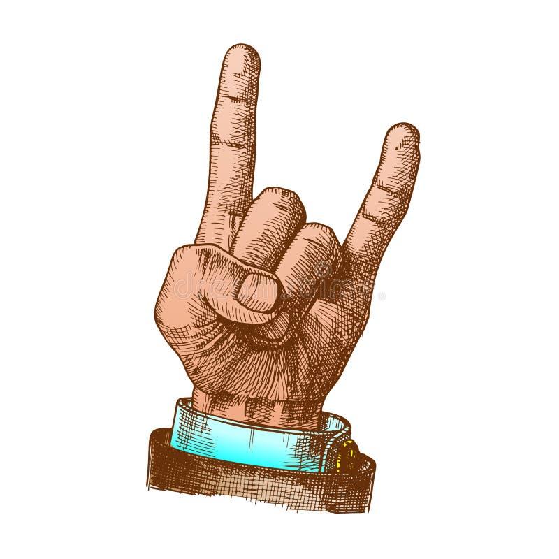 La mano masculina del color hace gesto de la cabra dos fingeres encima del vector stock de ilustración