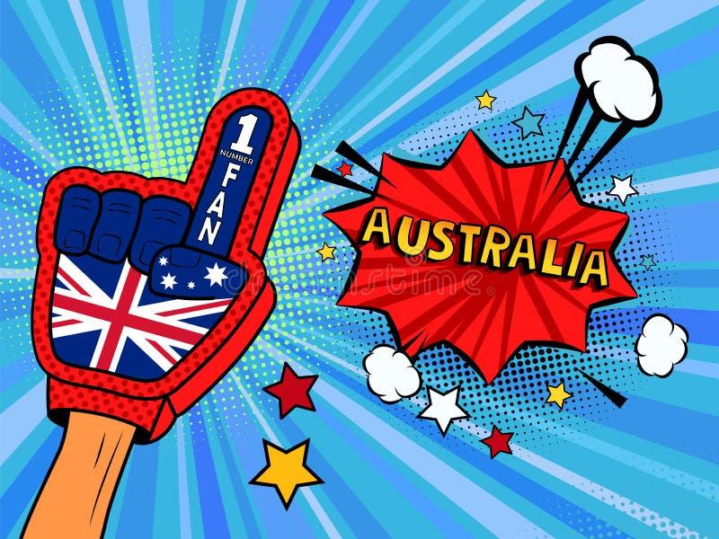 La mano masculina en el guante de la bandera de país de una fan de deportes aumentó para arriba la celebración de la burbuja del  stock de ilustración