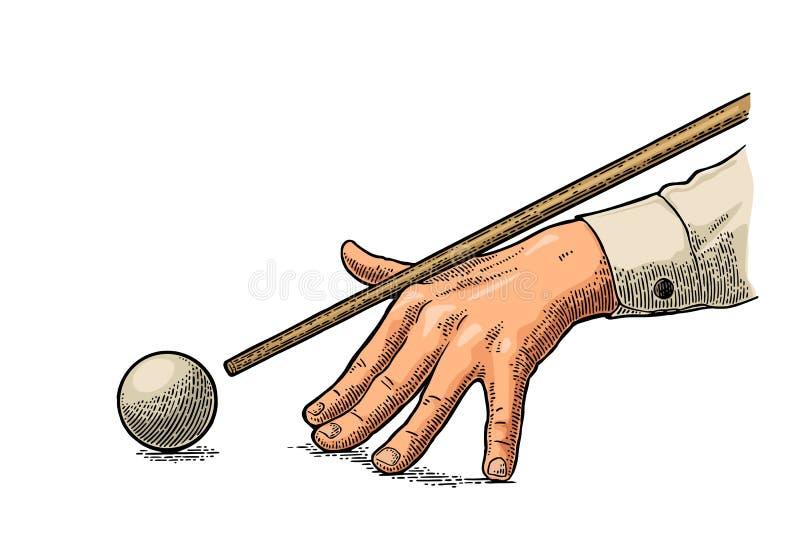 La mano masculina en una camisa es señal estado dirigida la bola ilustración del vector