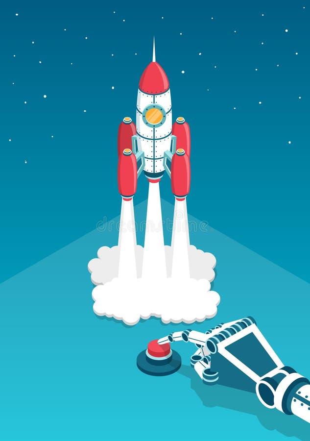 La mano mecánica presiona un finger en el botón rojo y el cohete comienza ilustración del vector
