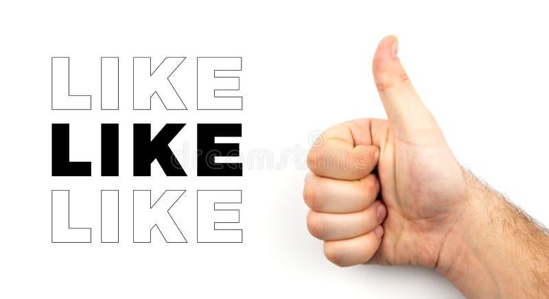 La mano melenuda masculina muestra el pulgar para arriba y simboliza la muestra de la aprobación, como, muy bien, buen humor aisl fotos de archivo