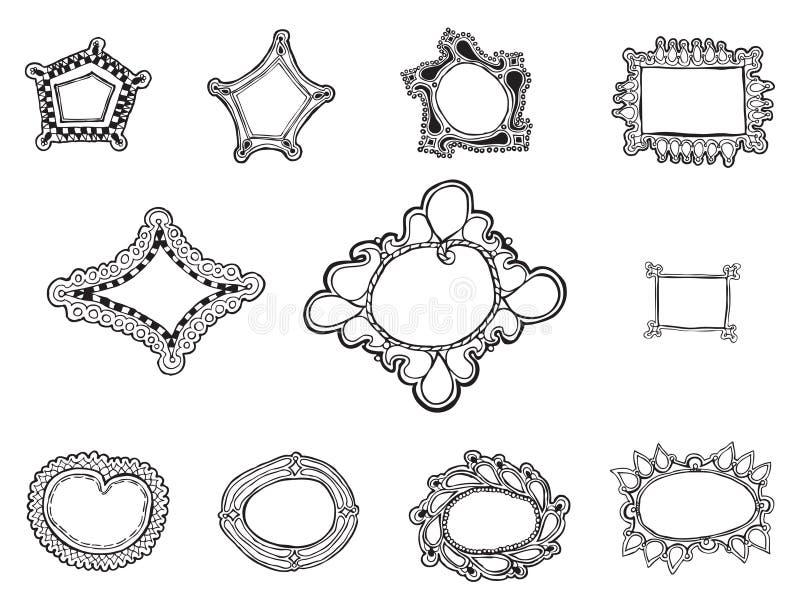 La mano orgánica once dibujada enmarca caprichoso vectores stock de ilustración