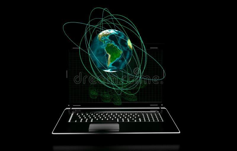 La mano, pantalla de ordenador en un fondo negro, elementos presentó a la NASA stock de ilustración