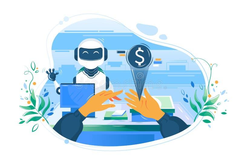 La mano plana del hombre con el dinero electr?nico enfrente del robot del cajero s ayuda a pagar libre illustration