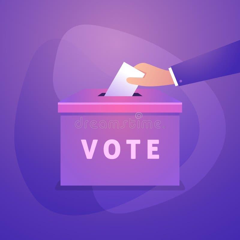 La mano pone el boletín del voto en la caja del voto Concepto de la elección ilustración del vector