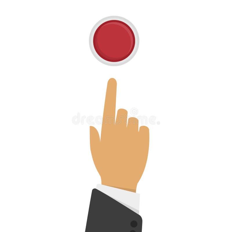La mano presiona el botón libre illustration