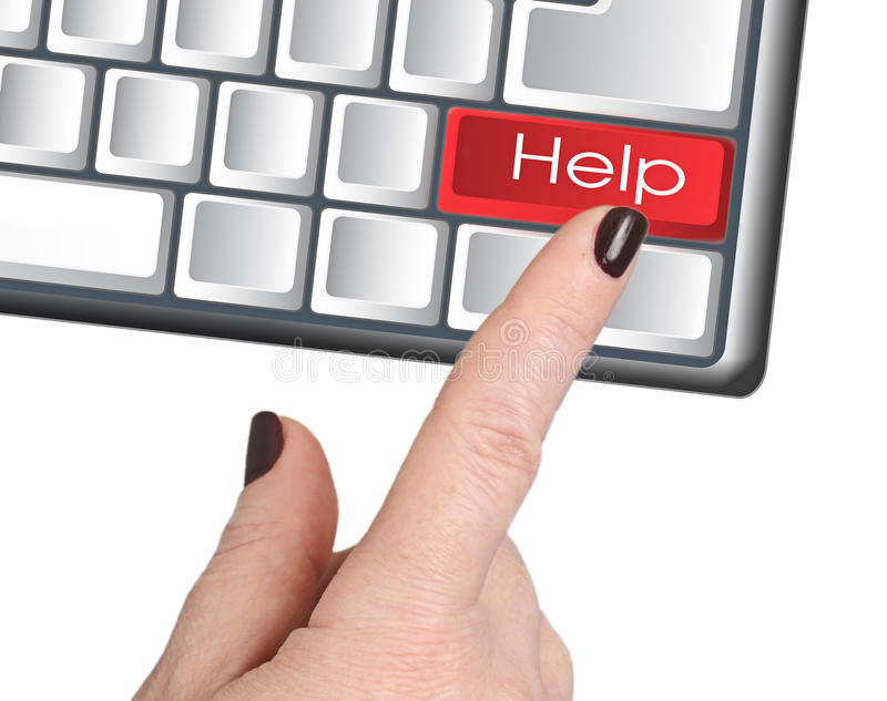 La mano presiona la AYUDA de botón imagen de archivo libre de regalías