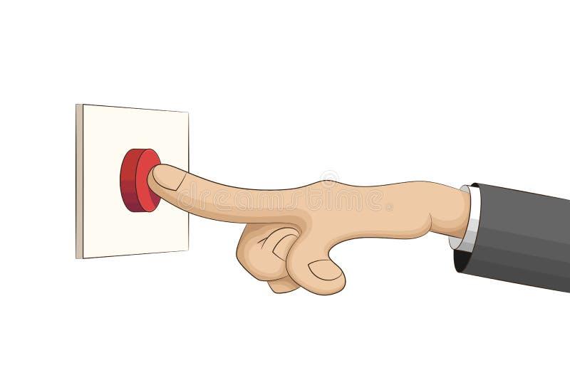 La mano presiona un botón rojo stock de ilustración