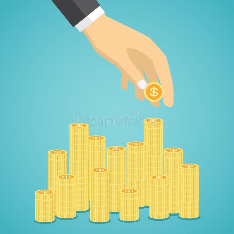 La mano puso la moneda a las pilas de monedas de oro ilustración del vector