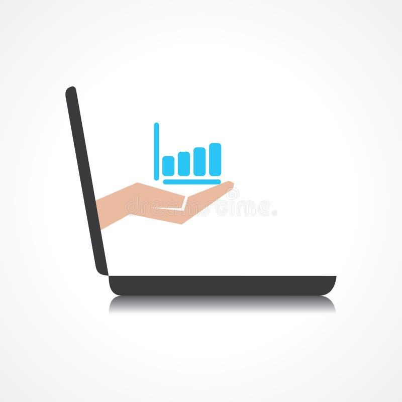 La mano que lleva a cabo el gráfico de negocio viene de scre del ordenador portátil ilustración del vector