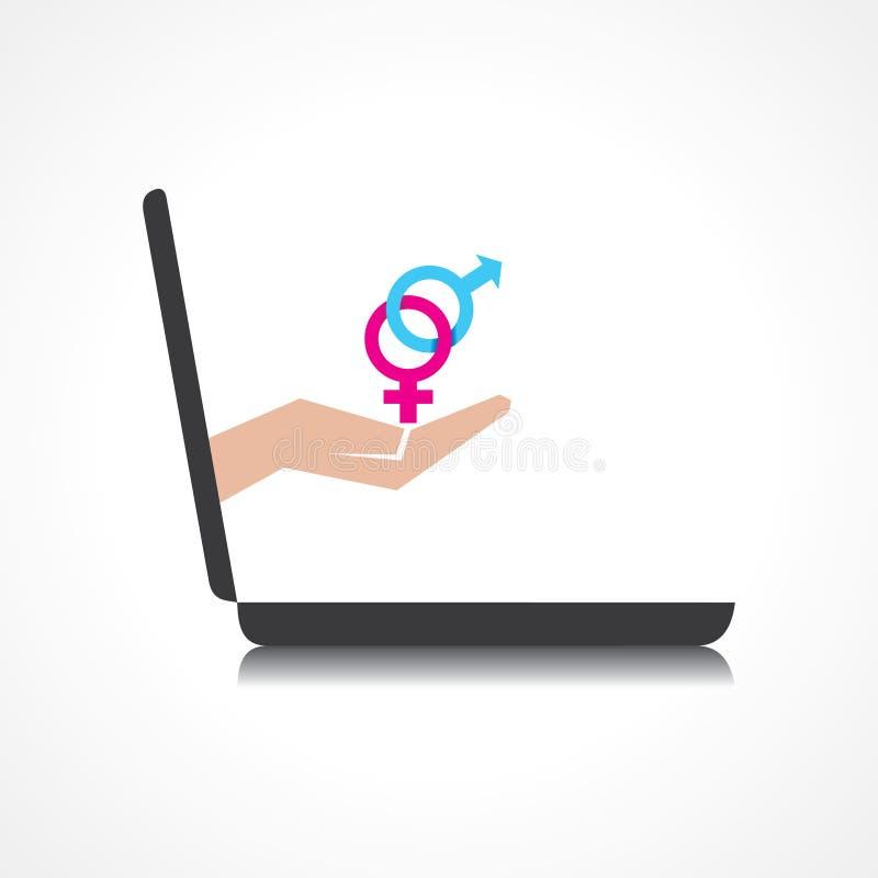 La mano que lleva a cabo los símbolos masculinos y femeninos viene de la pantalla del ordenador portátil ilustración del vector