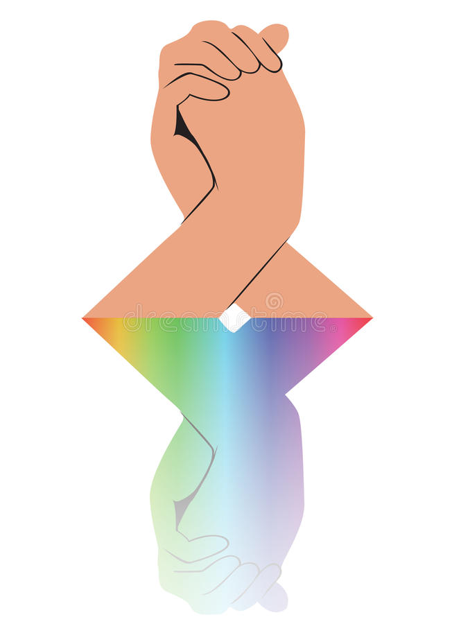 La mano que lleva a cabo otra mano refleja vector ilustración del vector
