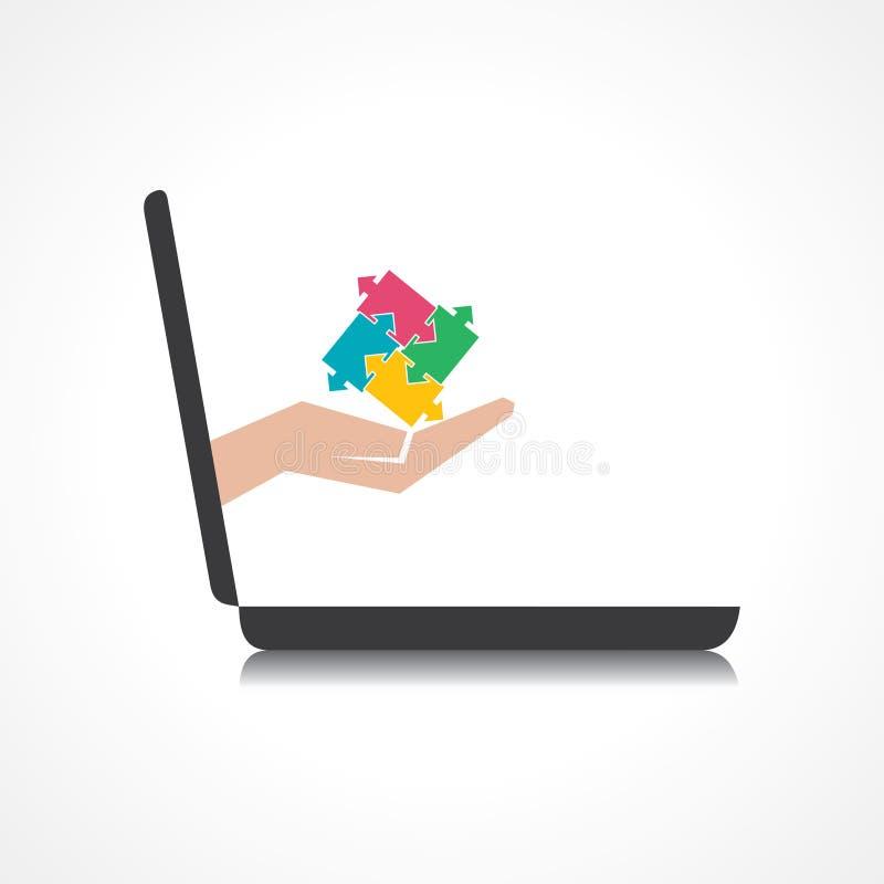 La mano que lleva a cabo pedazos del rompecabezas viene de pedregal del ordenador portátil libre illustration