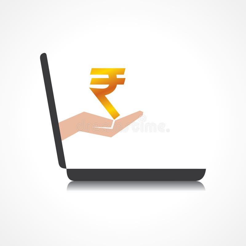 La mano que lleva a cabo símbolo de la rupia viene de pedregal del ordenador portátil ilustración del vector
