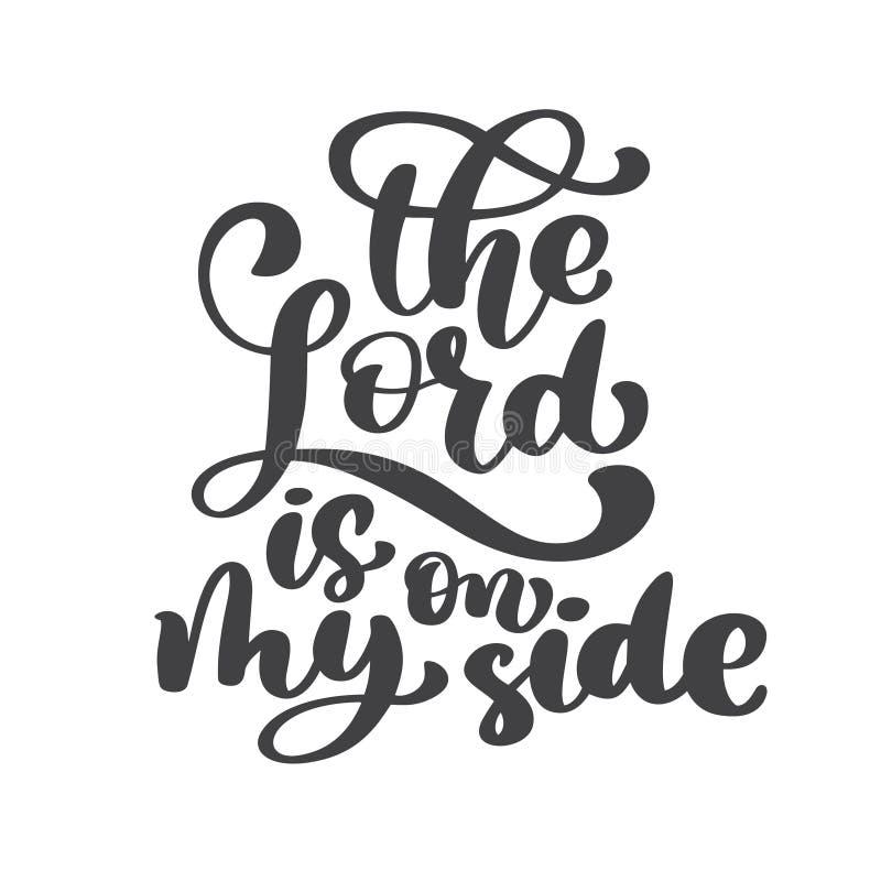 La mano que pone letras al señor está en mi lado Fondo bíblico Nuevo testamento Verso cristiano, ejemplo del vector aislado libre illustration
