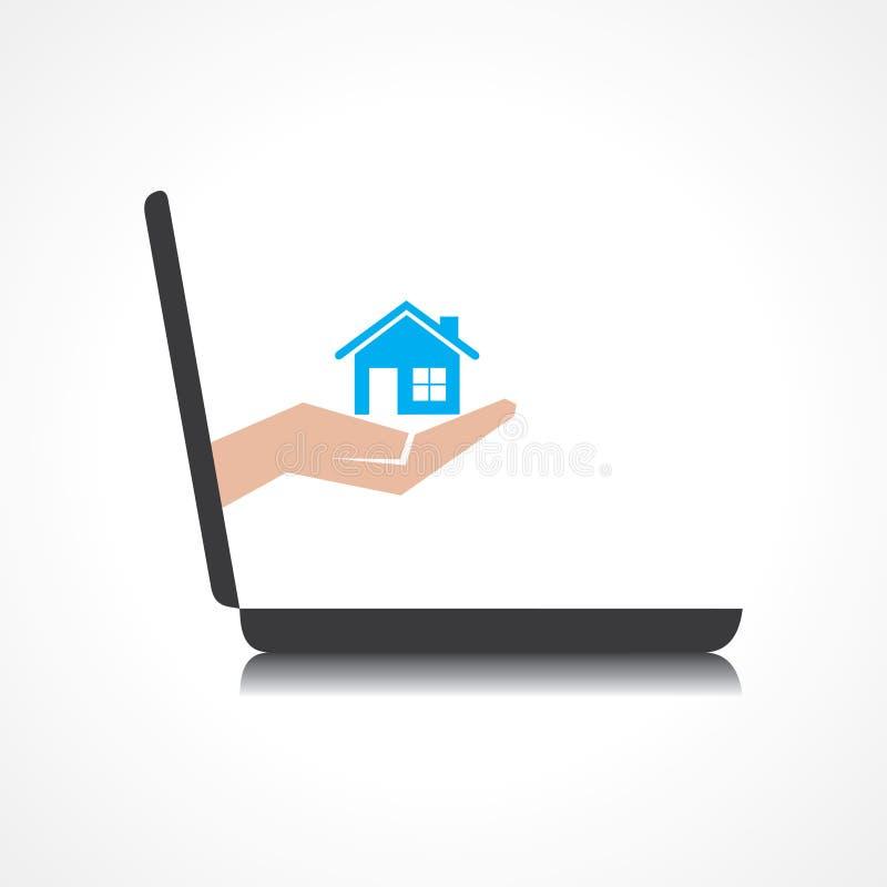 La mano que se sostiene a casa viene de la pantalla del ordenador portátil ilustración del vector