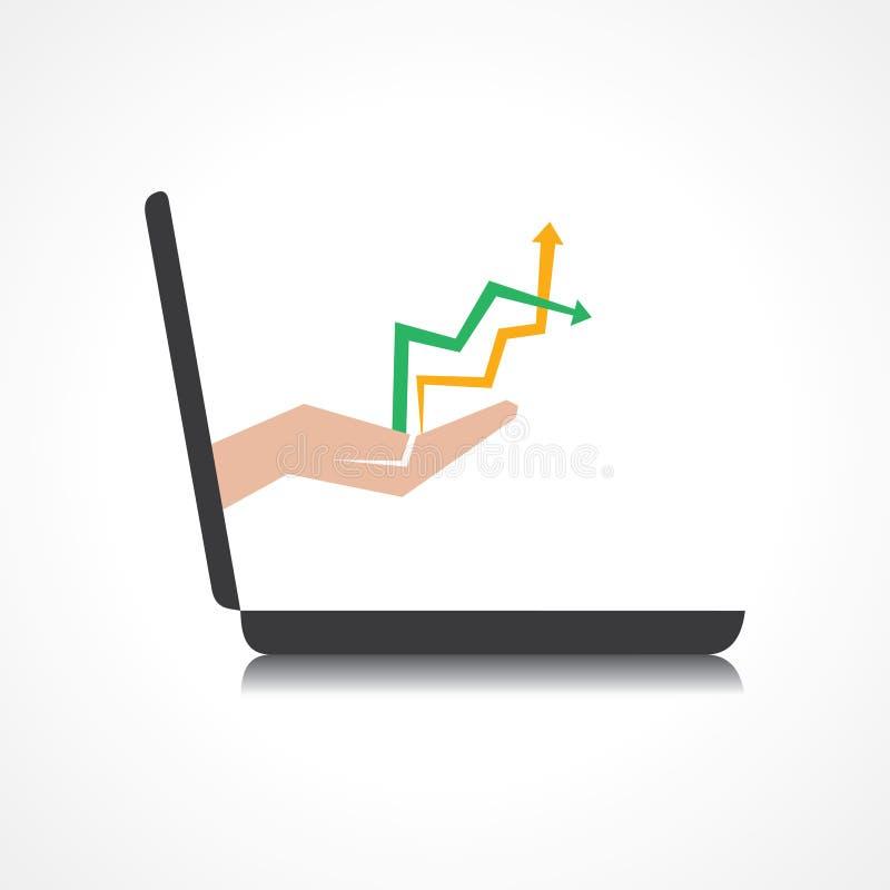 La mano que soporta y las flechas baja del ordenador portátil  stock de ilustración