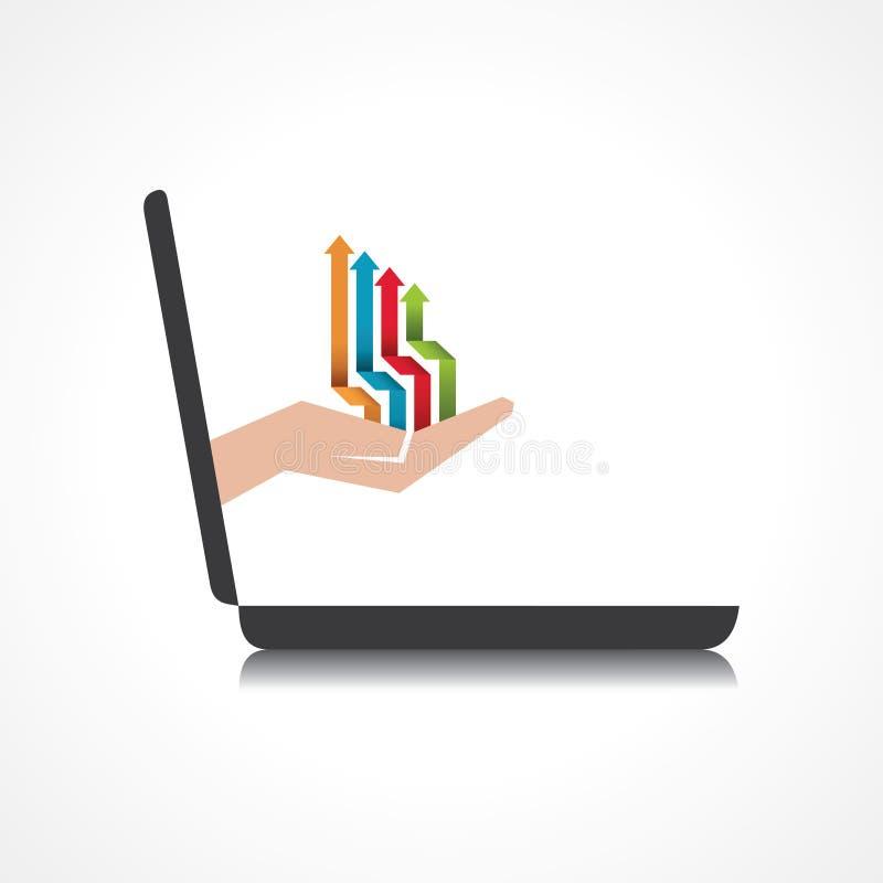 La mano que soporta y las flechas baja del ordenador portátil  ilustración del vector