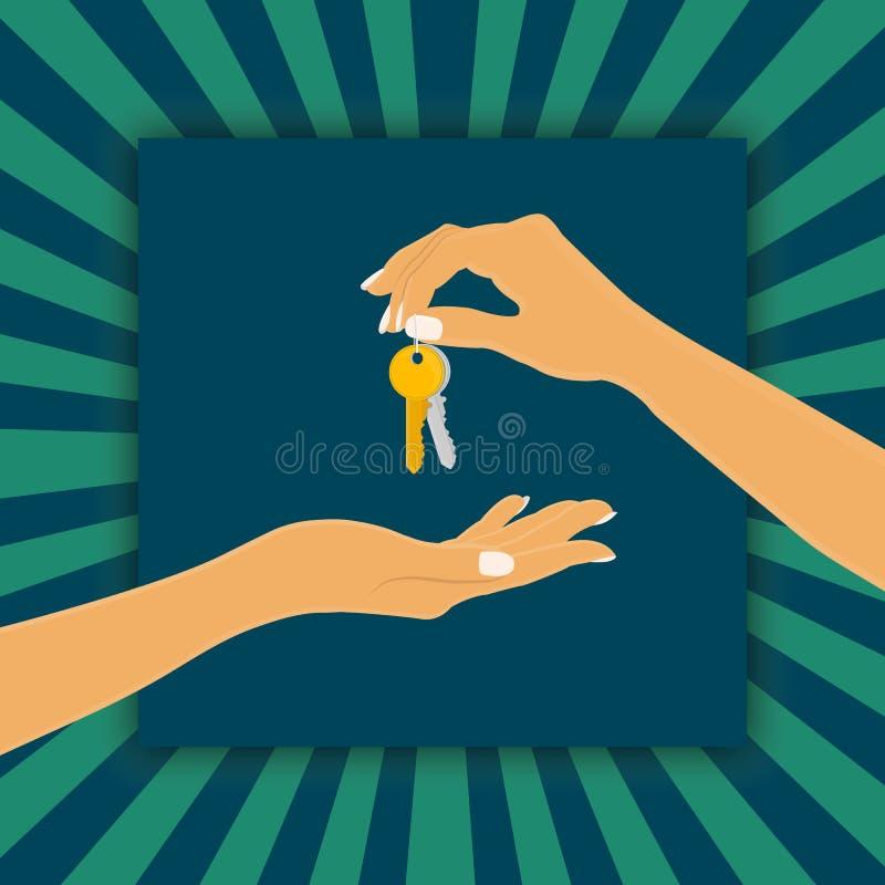 La mano que sostiene el encadenamiento dominante es el vendedor o el propietario y el brazo que reciben el clave de la casa es el ilustración del vector