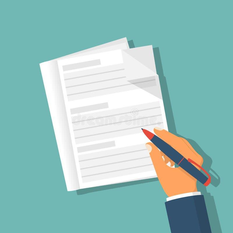 La mano que sostiene el lápiz y el cuaderno se preparan a describir cierre stock de ilustración