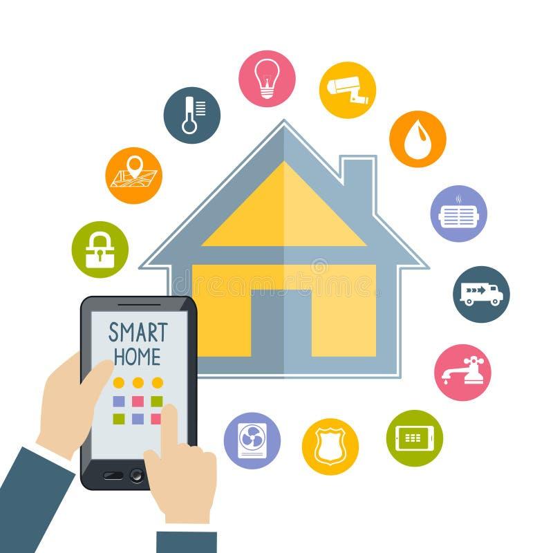 La mano que sostiene el teléfono móvil controla el hogar elegante ilustración del vector